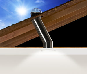 Image shows the installation of solar tube light